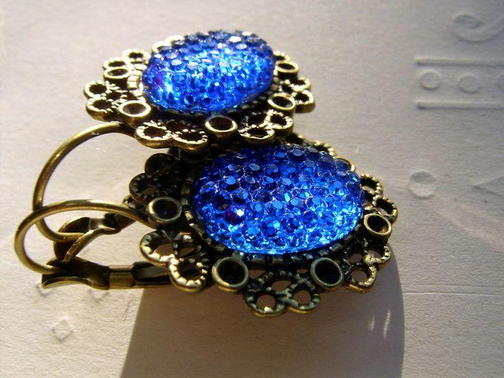 Ohrringe,blau,bronze  von kunstpause auf DaWanda.com