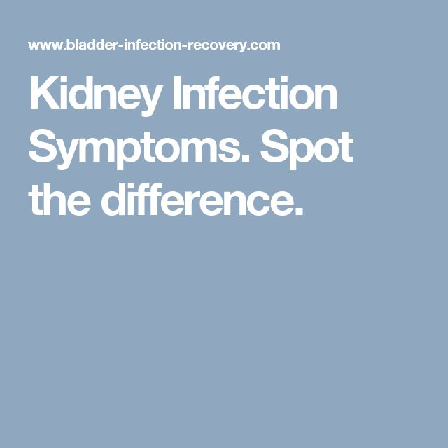 Kidney Infection Symptoms. Spot the difference.