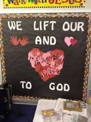 bible class door decoration--lift our hands and hearts to god