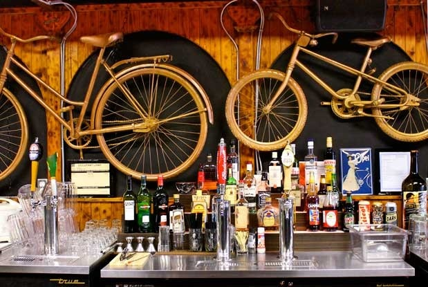 Bike-filled Decor at Handlebar, a bicycle-themed watering hole in Kensington Market.