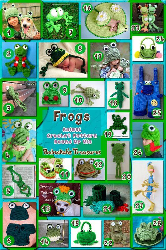 Frogs - Animal Crochet Pattern Round Up via @beckastreasures