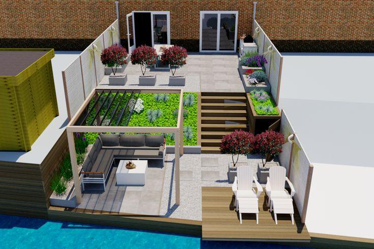3D Tuinontwerp moderne achtertuin Amstelveen. Tuin met vlonder aan het water, pergola met schaduwdoek en onderhoudsarme keramische tegels.
