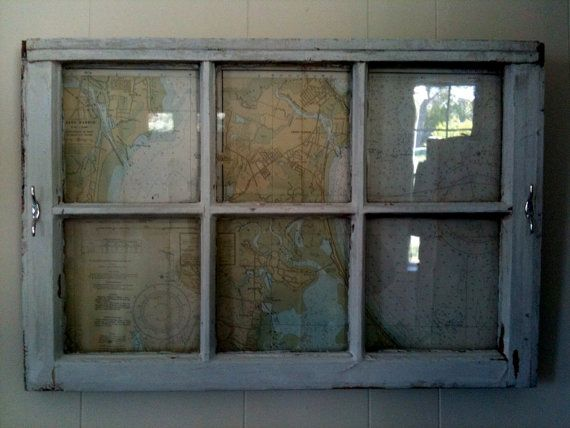 vintage window frame with nautical chart enclosed maritime theme wall art
