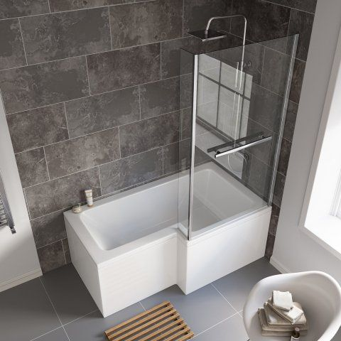 1500x850mm Right Hand L-Shaped Bath, 6mm Screen, Rail, Front & End Panels - soak.com - soak.com