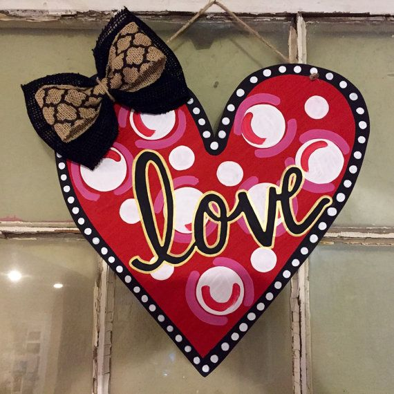 Heart wooden door hanger by OzarkTrends on Etsy