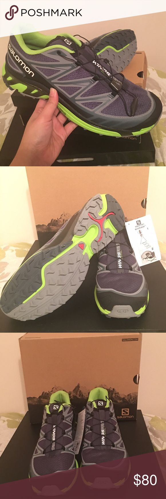 Salomon Wings Pro Mountain Trail Shoes New with box. Size 11.5 / Color: Grey & Green Salomon Shoes Athletic Shoes