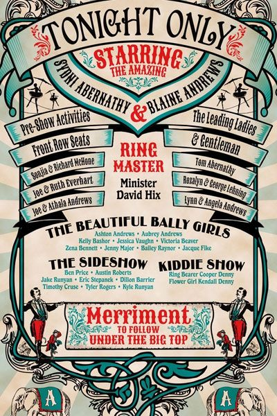 Cool circus poster wedding program