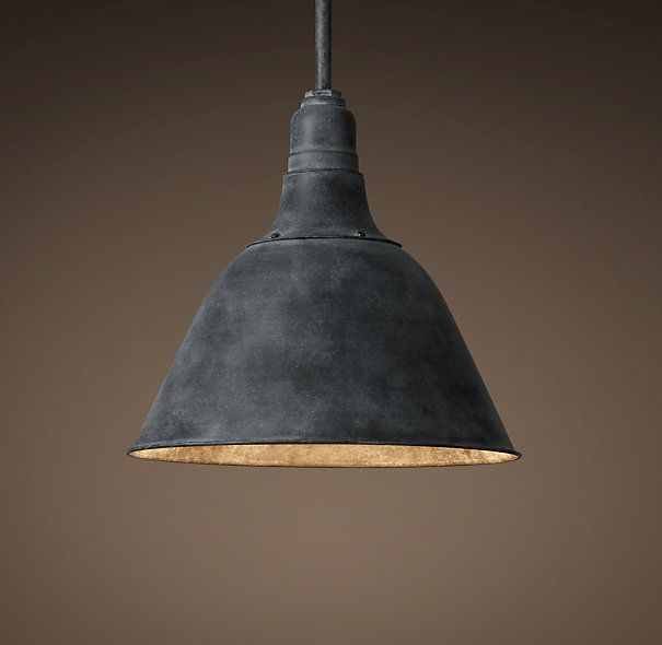 second choice in either 18 or 22 inch - Vintage French Farmhouse Pendant - Weathered Zinc