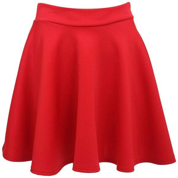 Pilot Ellie Scuba Skater Skirt (£15) ❤ liked on Polyvore featuring skirts, bottoms, pants, red, skater skirts, red skater skirt, pin skirt, red flare skirt and red flared skirt