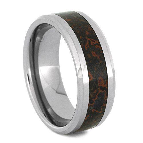 Unique Wedding Band For Men, Tungsten Ring, Dinosaur Bone Ring