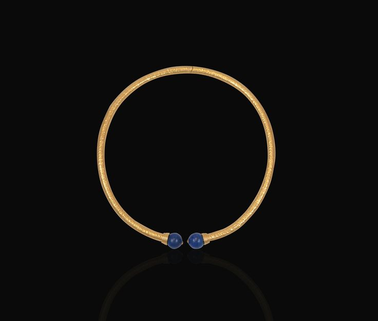 "Our bigger ""simple"" chocker hammered to shape through hundreds of hand beatings, to resemble the ancient ways of forming, and decorated with two 8-9mm lapis lazuli beads."