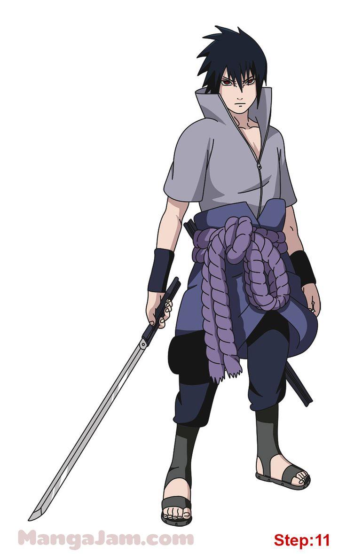 How to Draw Sasuke Uchiha from Naruto step 11