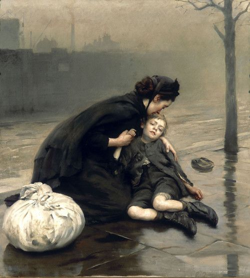 Thomas Benjamin Kennington, Homeless, 1890  A heartbreaking scene of Victorian poverty and suffering painted by English artist, and founder of the New English Art Club, Thomas Benjamin Kennington.