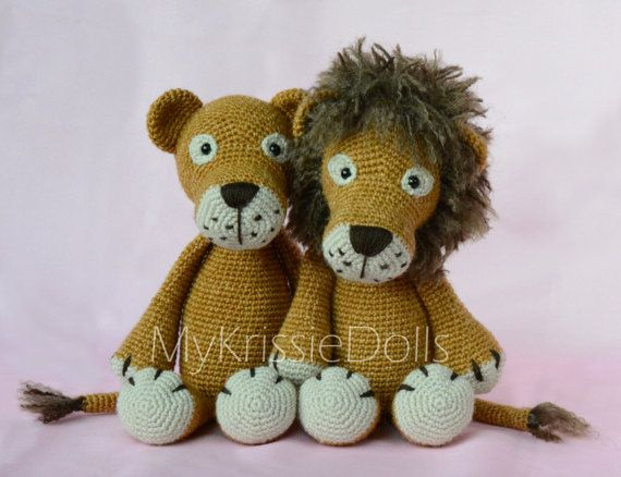 Crochet pattern  Lisa and Leo Lion por MyKrissieDolls en Etsy