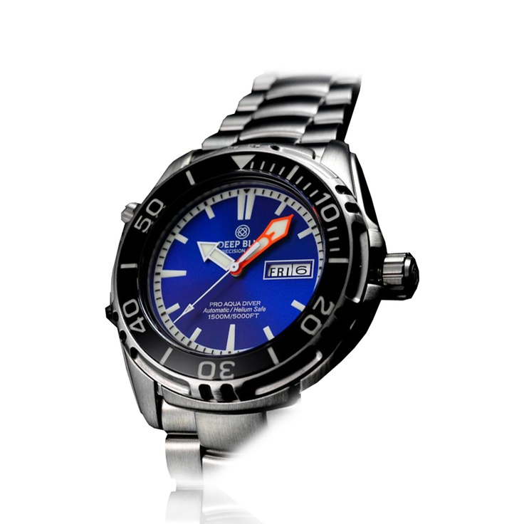 Deep Blue - Pro aqua 1500 - Inner Lume ring unidirectiona 120 click bezel, Luminous Sapphire Bezel inlay, Wetsuit extension, Helium Release Valve, Deployant clasp with safety, Day-Date function.