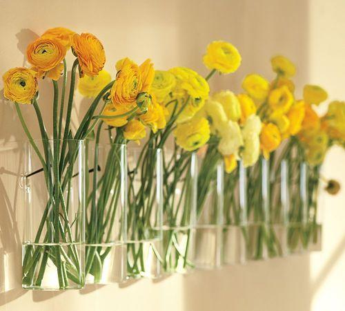 I love ranunculus: Yellow Flowers, Ideas, Wall Decor, Wall Mount, Wall Vase, Fresh Flowers, Wall Flowers, Flowers Vase, Pottery Barns