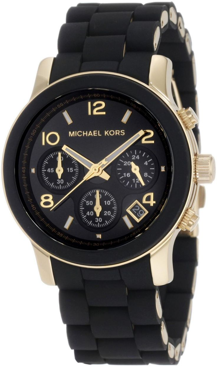 This Michael Kors women's MK5191 polyurethane chronograph watch combines sporty style with elegant functionality. This timepiece is tastefully finished with goldtone highlights. The MK5191 is water re
