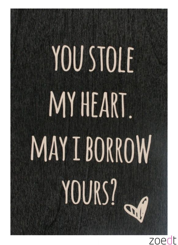 Houten kaartje met de tekst: You stole my #heart - #Woodencard - #Card - #Quote - Buy it at www.vanmariel.nl - Card € 4,95