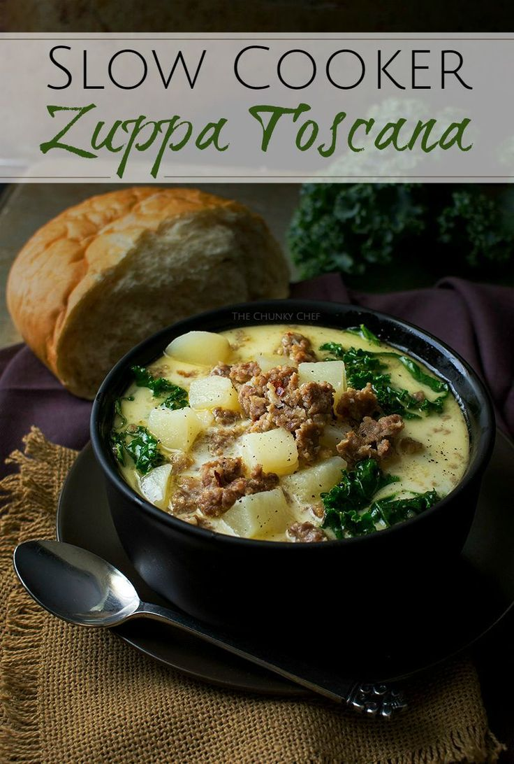 Slow Cooker Zuppa Toscana   The Chunky Chef   The classic zuppa toscana soup  in slow cooker form  It tastes WAY better than Olive Garden  39 s  and is sure to be a crowd pleaser    http   thechunkychef com
