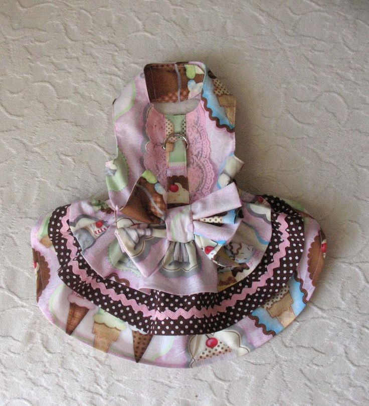 Dog Harness Dress Ice Cream Cones Polka Dots XS by chloesheart