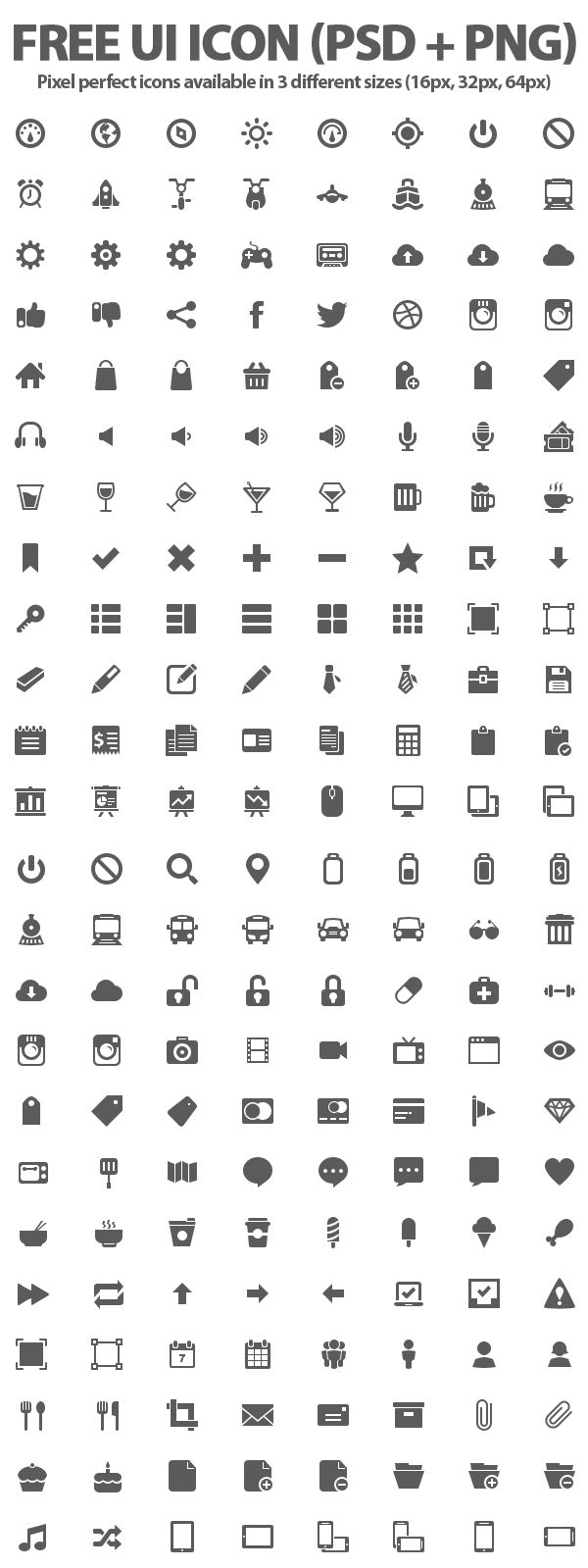 500+ Free UI Icons (PSD + PNG)