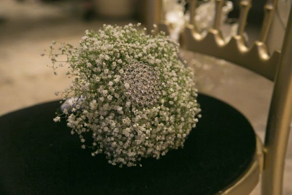 Cluster of Baby's Breath with brooch in the center