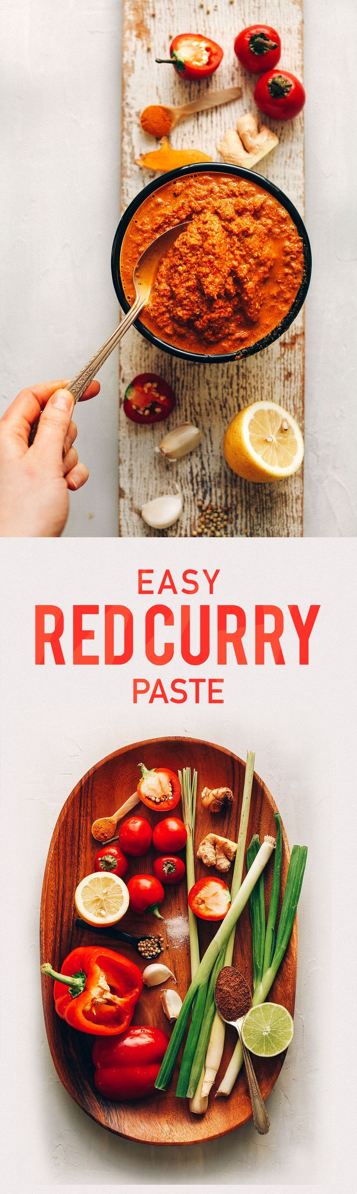 Easy Red Curry Paste (use dark green part of scallions; sub garlic-infused oil for garlic; sub honey for sweetener) / Minimalist Baker