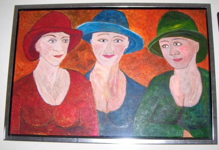 Hattedamer 60 x 50 akryl