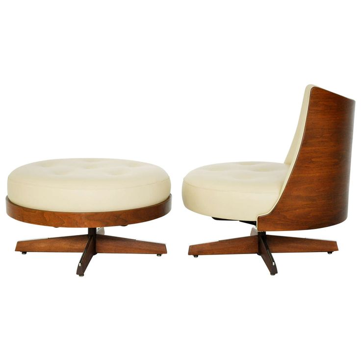 anonymous walnut veneer plywood lounge chair and ottoman by plycraft c1960
