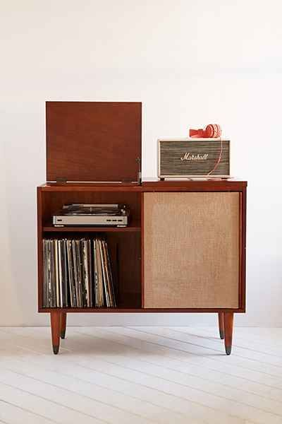 Draper Media Console - Urban Outfitters: Mid-century vintage inspired, with LP storage and hinged top to fit a turntable. Love it!