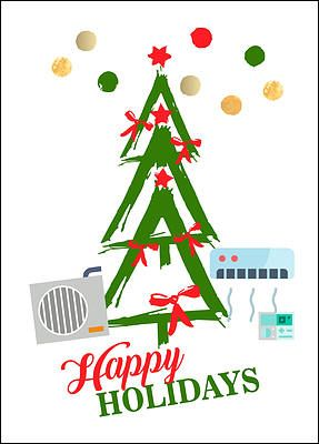"""Thank your customers for a year of business with the HVAC Tree Holiday Card for heating and air conditioning specialists. Detailed with a Christmas tree, colorful red and green accents, and heating and air cooling units that add a unique touch, the HVAC Tree Holiday Card can be fully customized, allowing you to create a one-of-a-kind card that reflects your specific business. Printed on glossy card stock, this card measures 5"""" x  7"""" and comes with many free upgrades, offering the option to…"""