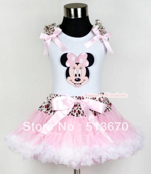 Белый майка минни розовый леопард светло-розовый с бантом леопард талии светло-розовый белый юбка MAMG438