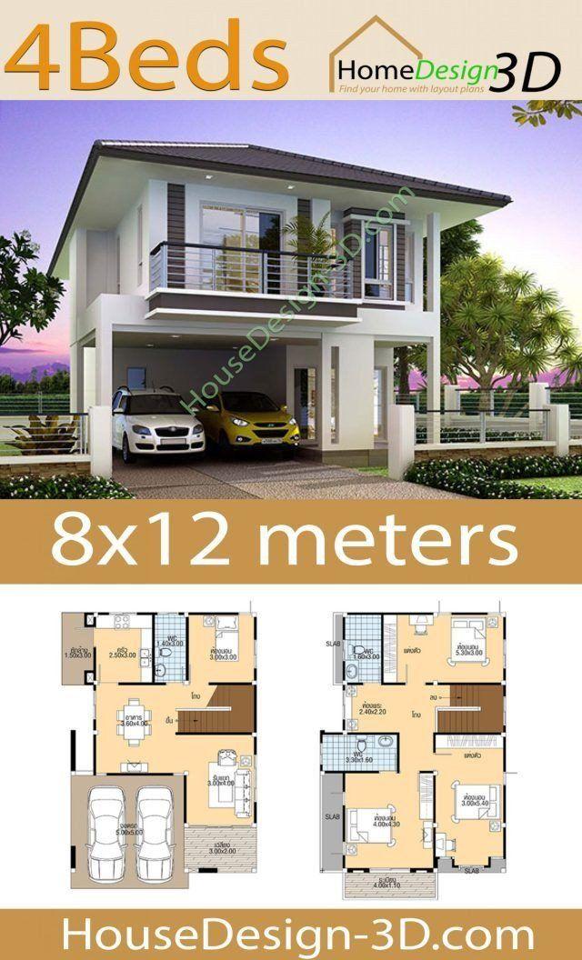 3d Modern House Plans House Design 3d 8x12 With 4 Bedrooms In 2020 Arsitektur Denah Rumah Rumah Modern