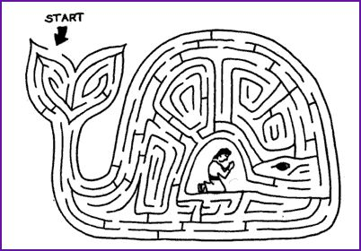 Maze and Story, Jonah and Great Fish - Kids Korner - BibleWise