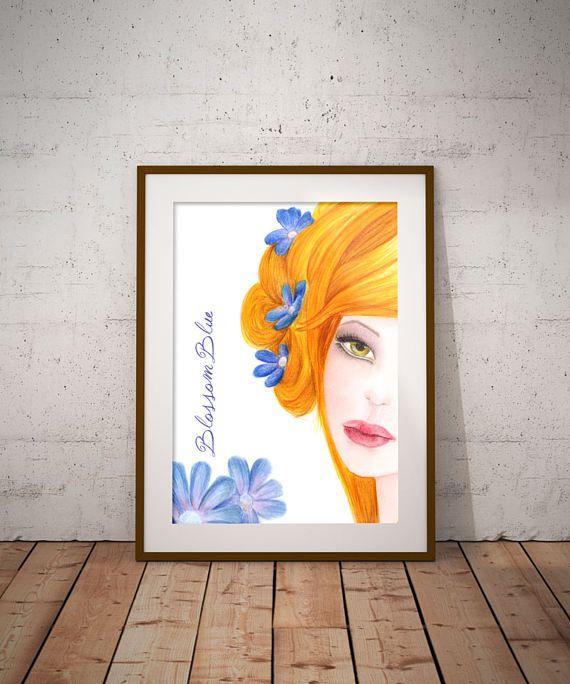 Spring decor Blue flowers Digital art Wall Decor Beauty