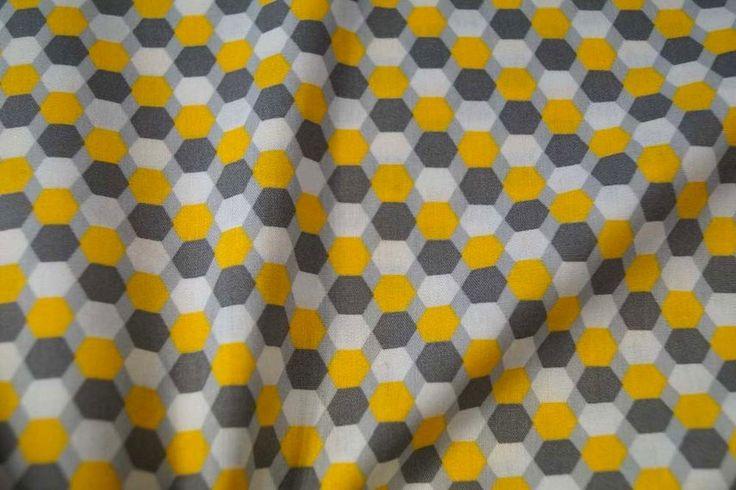 B1959 Katoen retro grijs geel