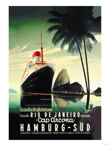 Hamburg to Rio de Janeiro on the Cap Arcona Steamship Prints at AllPosters.com