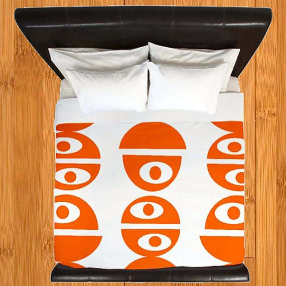 Modern Orange Duvet Cover Modern Bedding Retro by crashpaddesigns