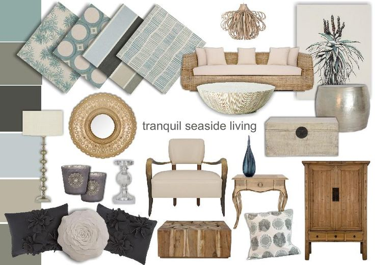 Tranquil Seaside Inspired Living Room Design Mood Board Created Using Sampleboard