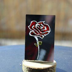 Rose gravée sur miroir