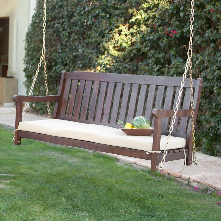 Wood Porch Swing Beige Cushion Included 20