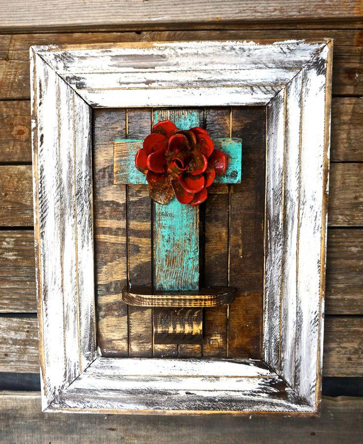 Carmela Cross Plaque   Sofiau0027s Rustic Furniture #turquoise #white #red  #dark #