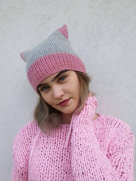 Cat Hat Knit Hat Knit Pussy Hat Uniwersal Hat  Powerhat  #cathat, #knithat, #pinkcathat, #pinkgreyhat