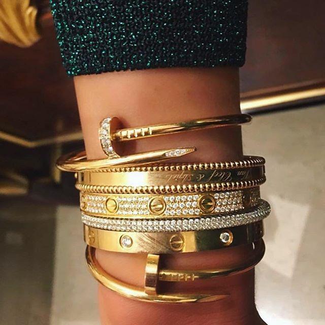 Cartier Goals Gold Bracelets Stacked Love Bracelets Shiny Bracelets