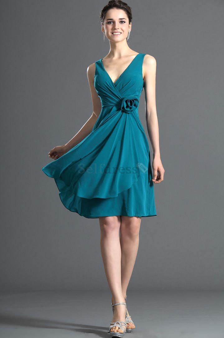 Inverted Triangle Sleeveless Summer Church Knee Length Chiffon Natural Waist Ruched Bridesmaid Dress