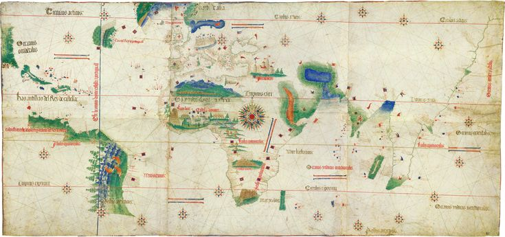 The Cantino planisphere, completed by un unknown Portuguese cartographer in 1502, is one of the most precious cartographic monuments of all times. It depicts the world, as it became known to the European after the great exploration voyages of the end of the fifteenth and beginning of the sixteenth century to the Americas, Africa and India. It is now kept in the Biblioteca Universitaria Estense, Modena, Italy