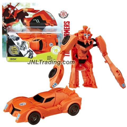"Hasbro Year 2015 Transformers Robots in Disguise Animation Series One Step Changer 5"" Tall Robot Figure - Decepticon BISK (Vehicle Mode: Sports Car)"
