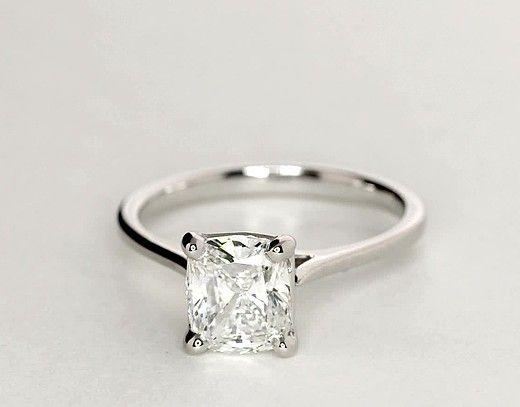 Cushion Cut Blue Diamond Ring