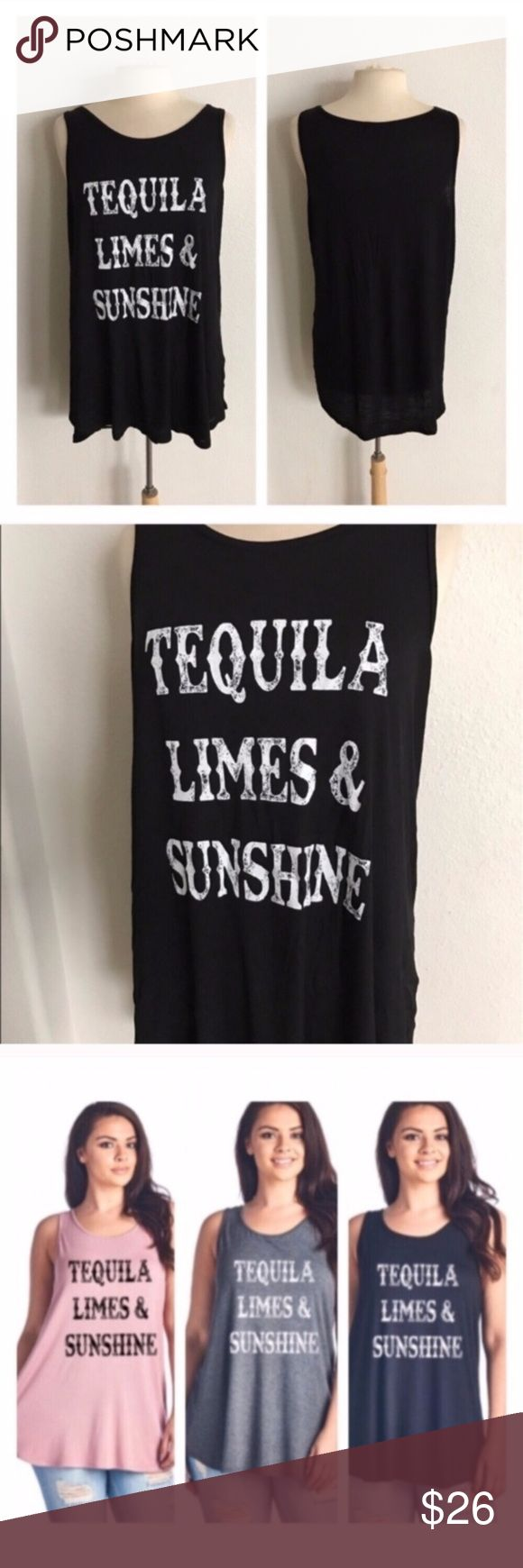 """3 LEFT! (Plus) Tequila tank top Great quality and super stretchy! 95% rayon/ 5% spandex. Semi thick. Runs true to size- I'm a 2x/16/18 and the 1x actually fit really well. If you want a form fitted look order one size down- flowy look order one size up. I'd say 1x = 14/16, 2x = 16/18, 3x = 18/20 1x: L 30"""" B 40""""  2x: L 31"""" B 42"""" 3x: L 32"""" B 44"""" ⭐️This item is brand new without tags 💲Price is firm unless bundled ✅Bundle offers Availability: 1x•3x • 2•1 Tops Tank Tops"""