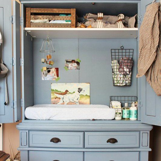 Turn a TV armoire into a peek-a-boo changing table.